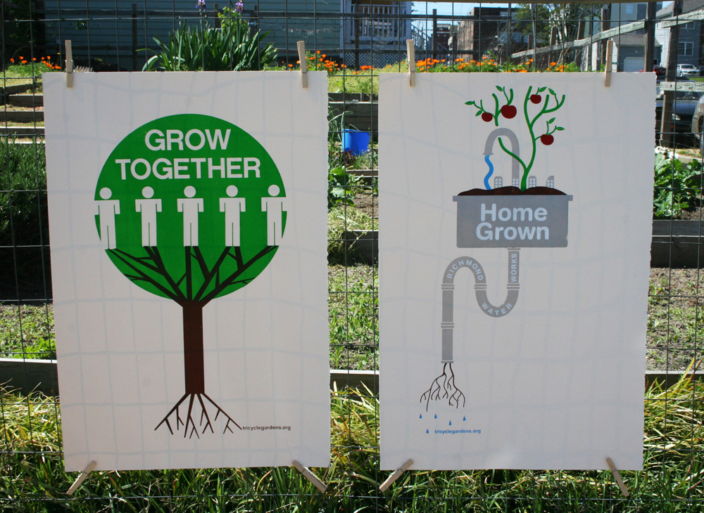 Screen printed posters created to promote community gardening