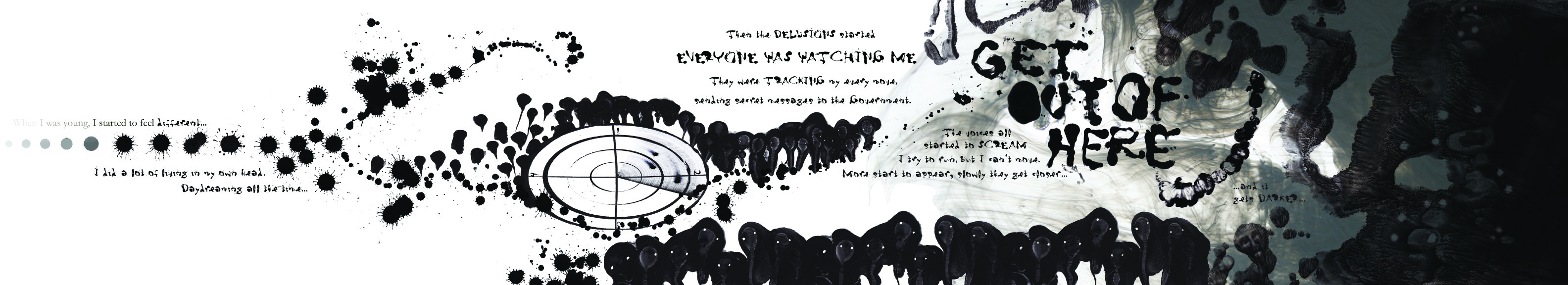 Ink scroll created as a visual translation of a schizophrenic episode